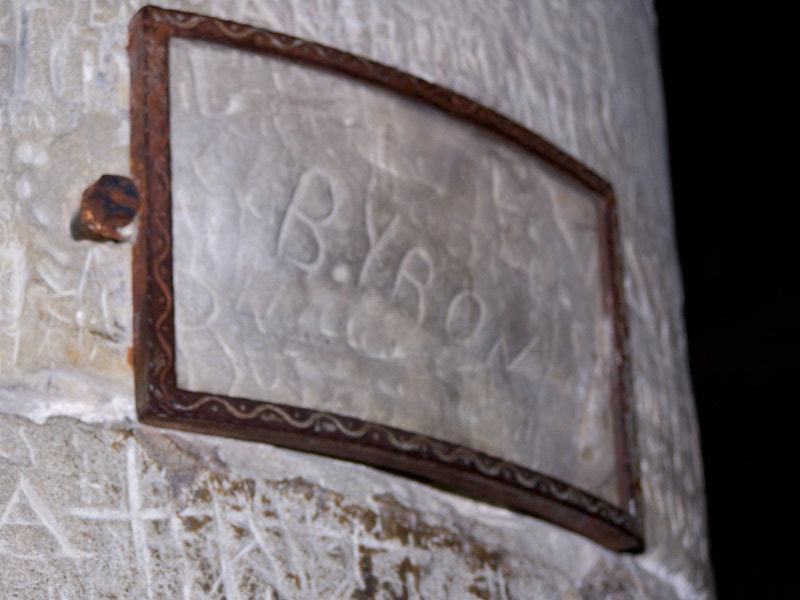 Lord Byron's autograph engraved in the dungeon of Chateau de Chillon