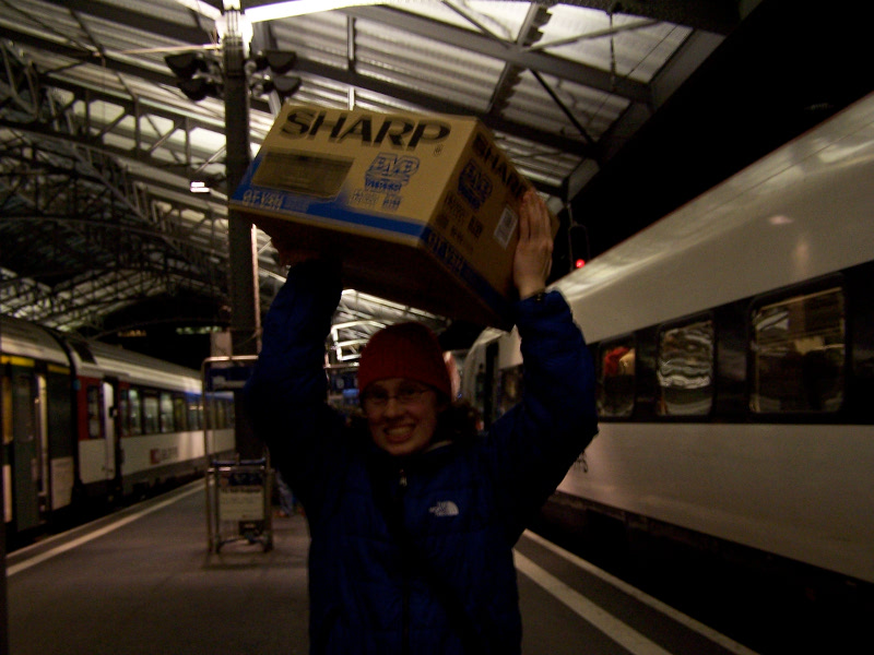Angela at Lausanne station with her DVD player
