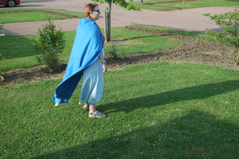 Me wearing a travel towel as a cape