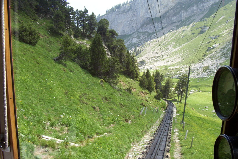 The steepness of the Pilatus Cogwheel Railway
