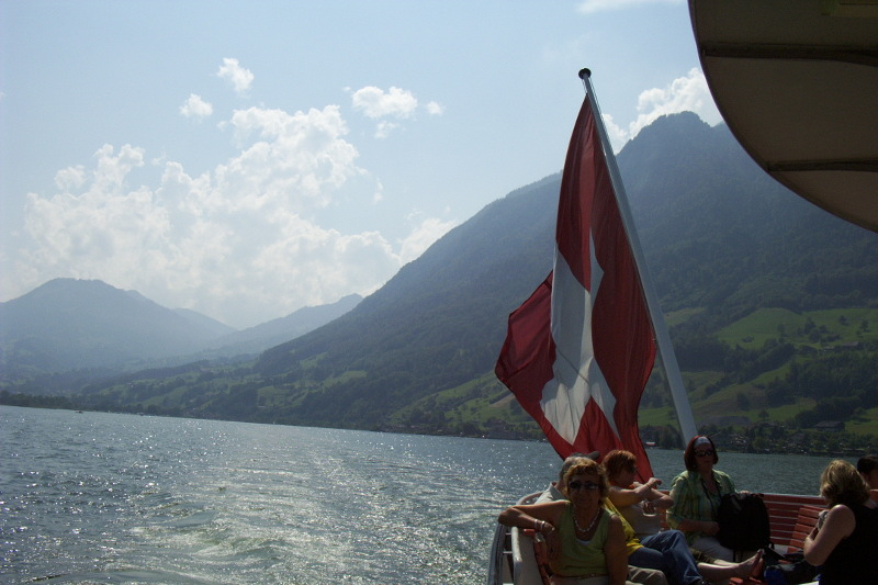 The Swiss flag flying from the stern of the steamer