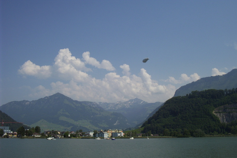 A zeppelin over Lake Luzern