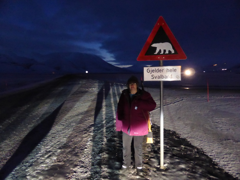 Me at the polar bear sign in Svalbard