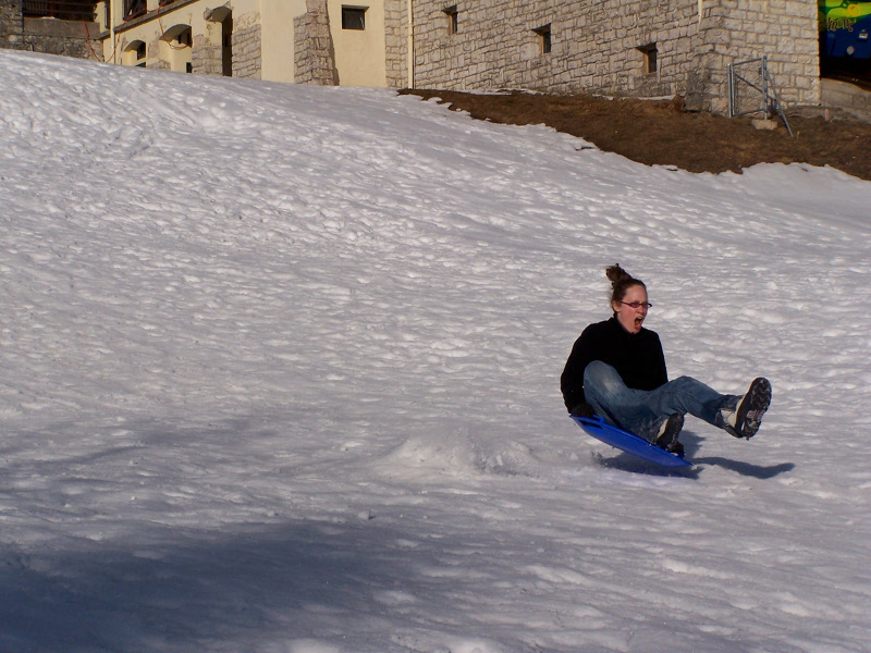 Angela sledging at Chaumont
