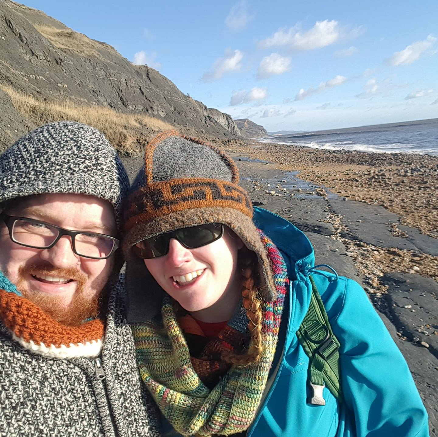 Me and Tom on Charmouth beach