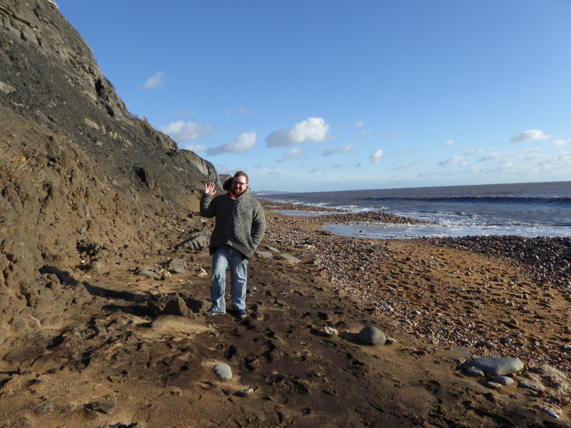Tom on the beach at Charmouth