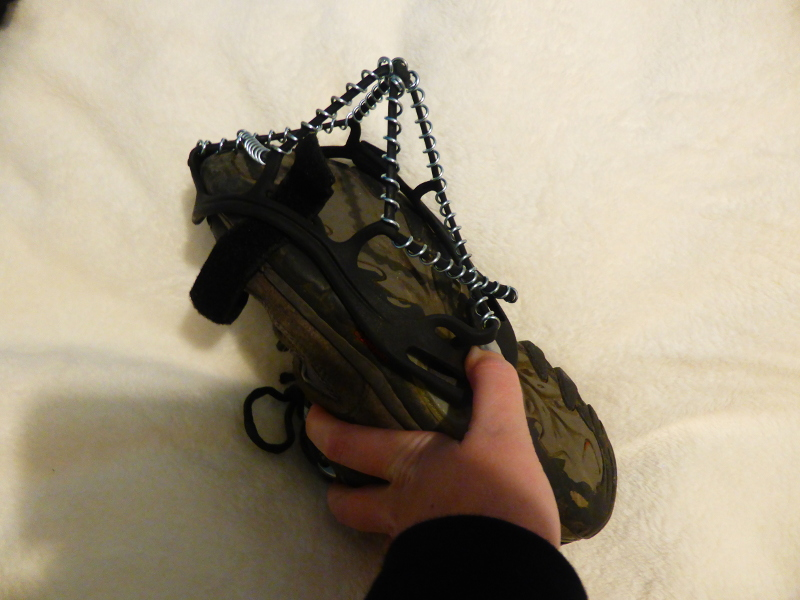 Yaktrax being stretched over my shoe