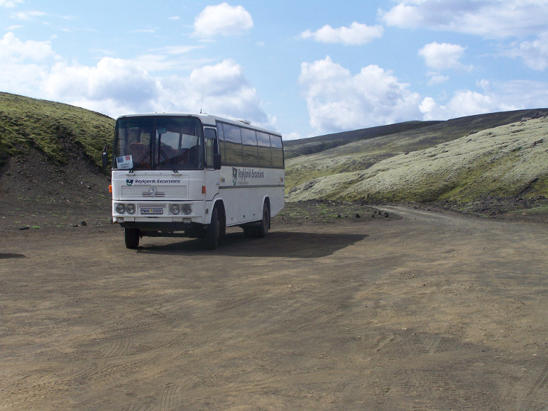 The bus parked at the bottom of Laki