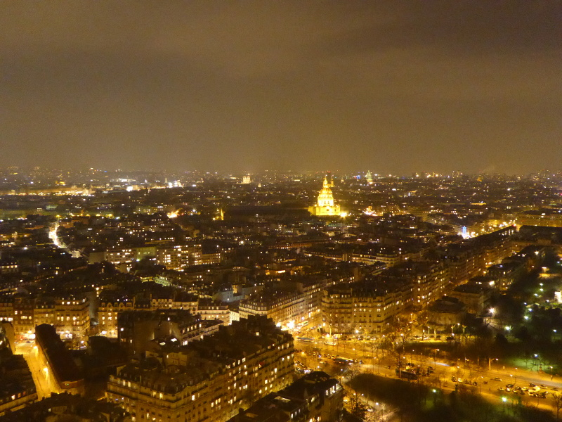 The view from the Eiffel Tower by night