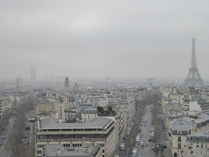 The view from the Arc de Triomphe in the fog