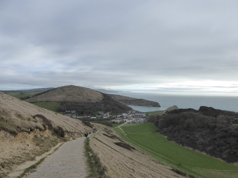 Lulworth Cove from the top of the hill